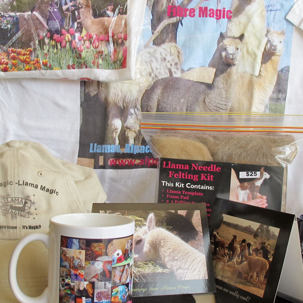 A mix of Alpaca Magic merchandise including a shirt, cap, felting kit, postcards and magnets