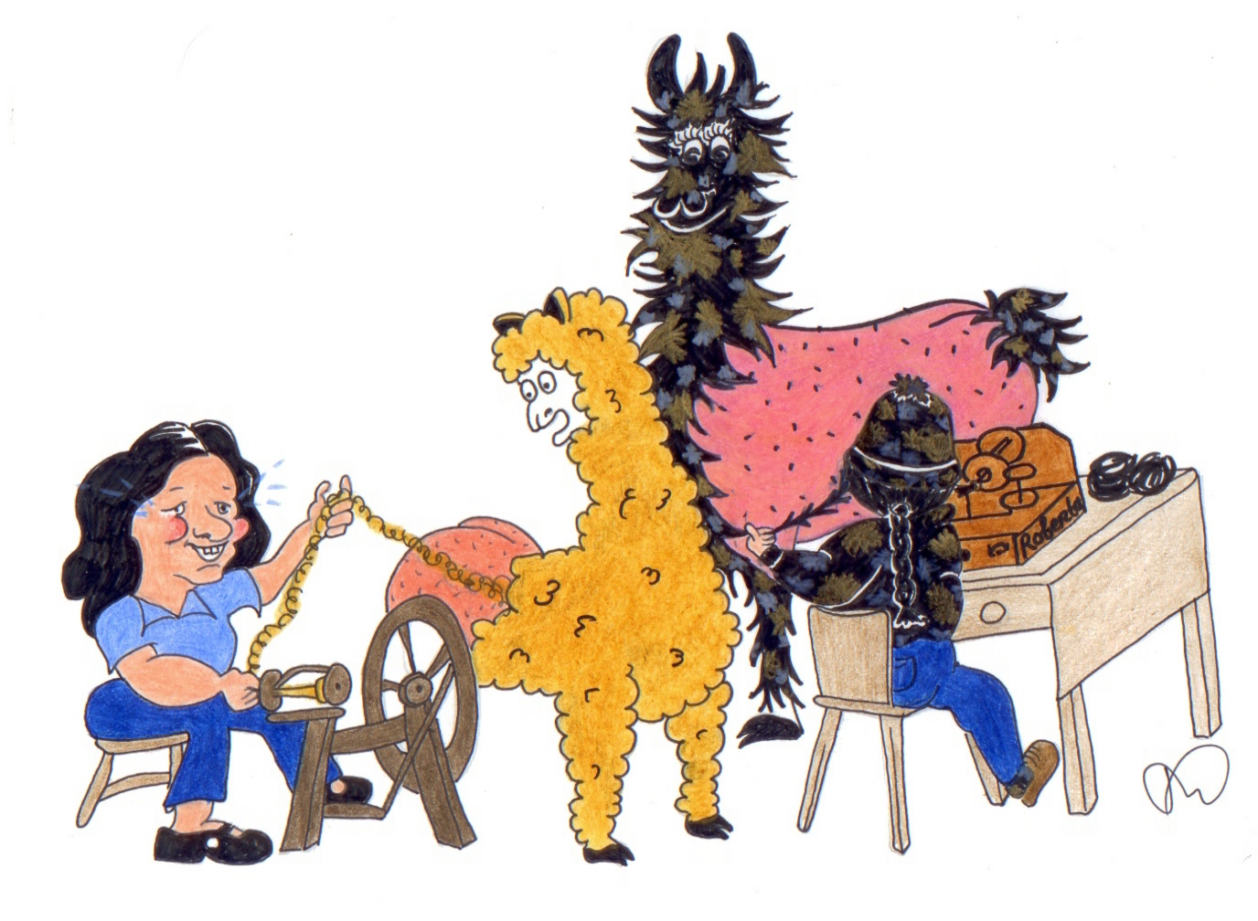 A cartoon of ladies spinning alpaca and llama fibre directly from amused animals