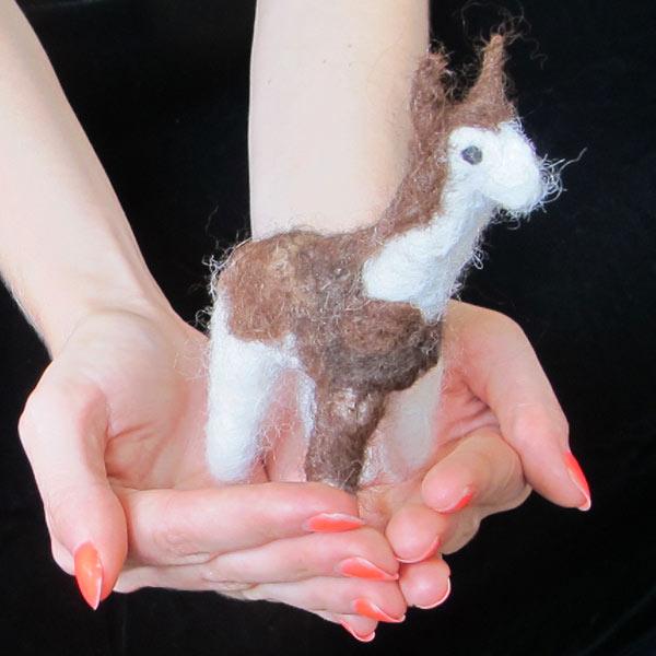 A felted alpaca model