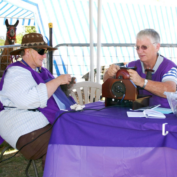 Glynda and a lady spinning using the Roberta Spinning Machine at a show