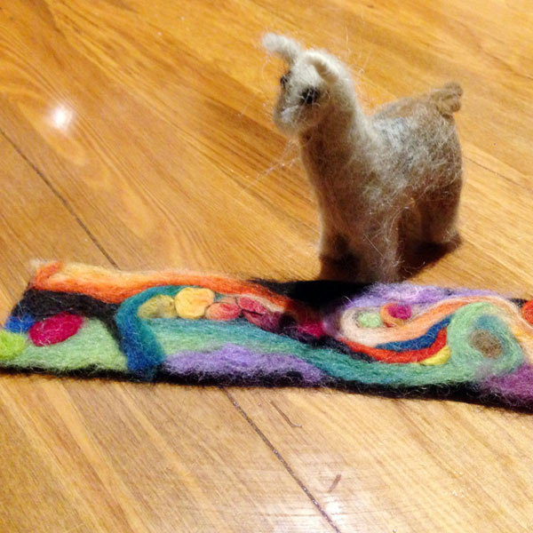 Needle felted bookmark and alpaca